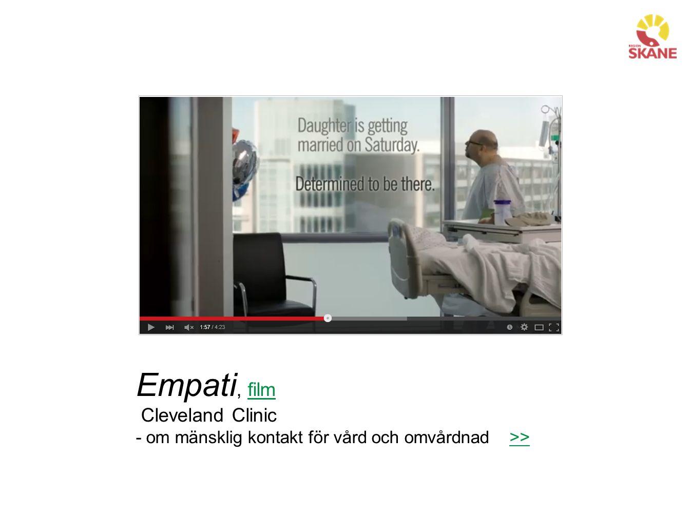 Empati, filmfilm Cleveland Clinic - om mänsklig kontakt för vård och omvårdnad >>>>