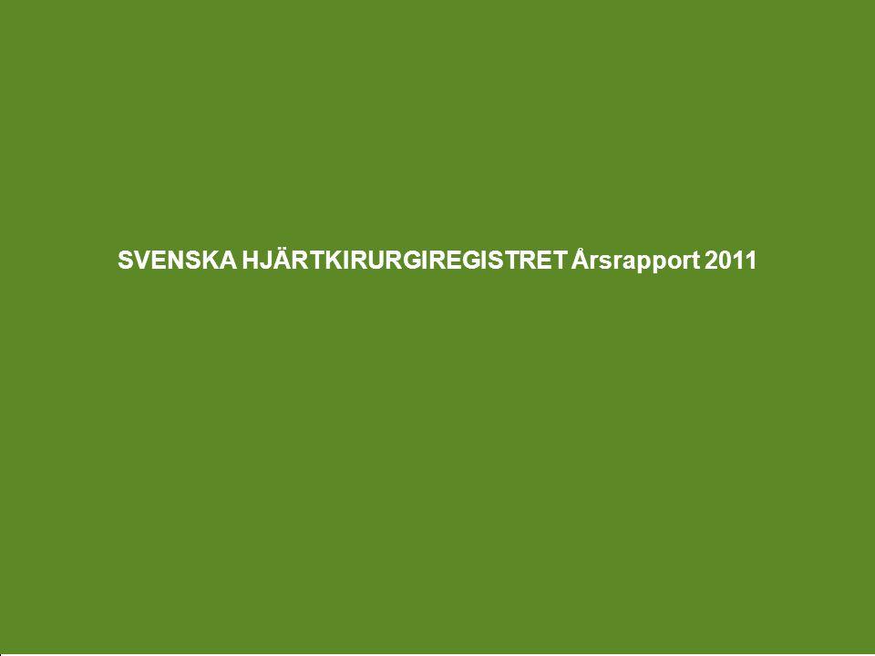 Utgiven 2012 – HJÄRTKIRURGI Svenska Hjärtkirurgiregistret 2011 Ordf.