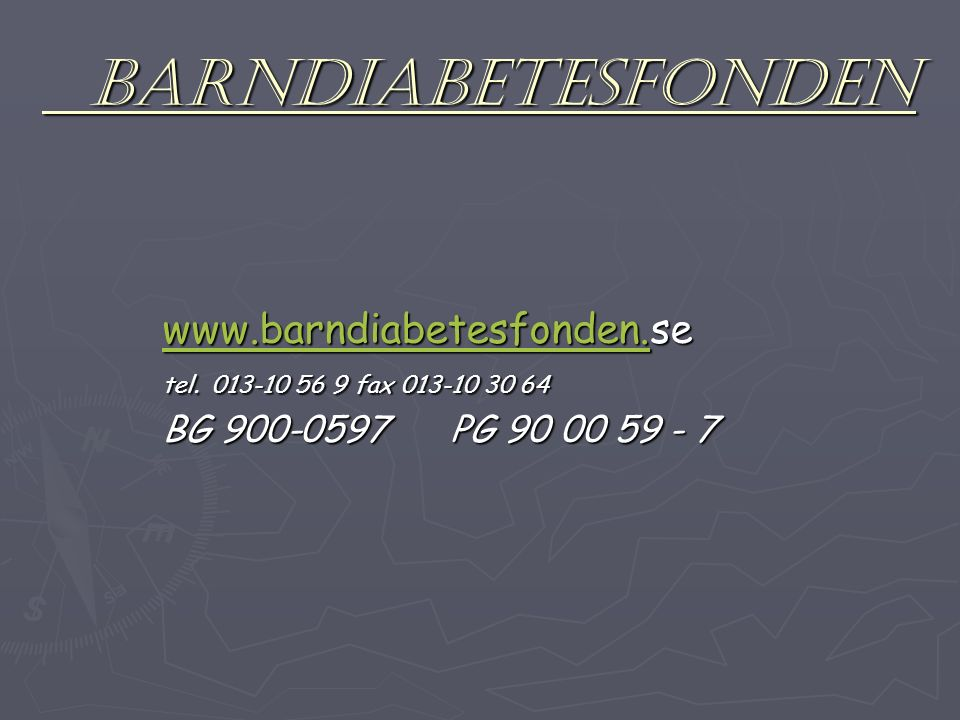 BARNDIABETESFONDEN BARNDIABETESFONDEN www.barndiabetesfonden.www.barndiabetesfonden.se www.barndiabetesfonden.