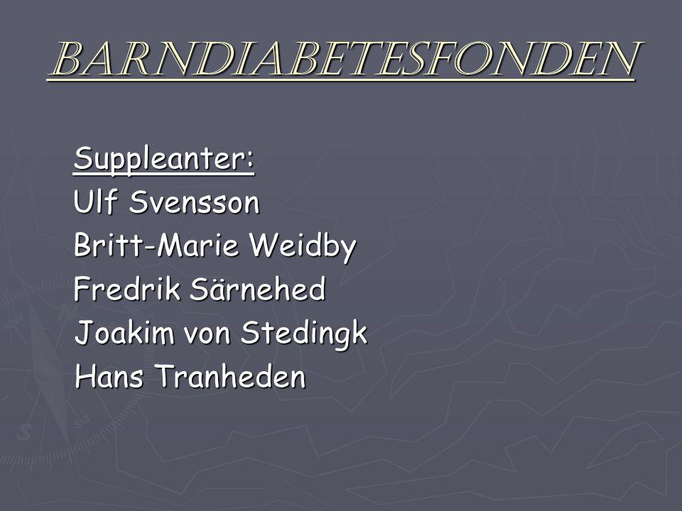 Barndiabetesfonden Suppleanter: Ulf Svensson Britt-Marie Weidby Fredrik Särnehed Joakim von Stedingk Joakim von Stedingk Hans Tranheden Hans Tranheden