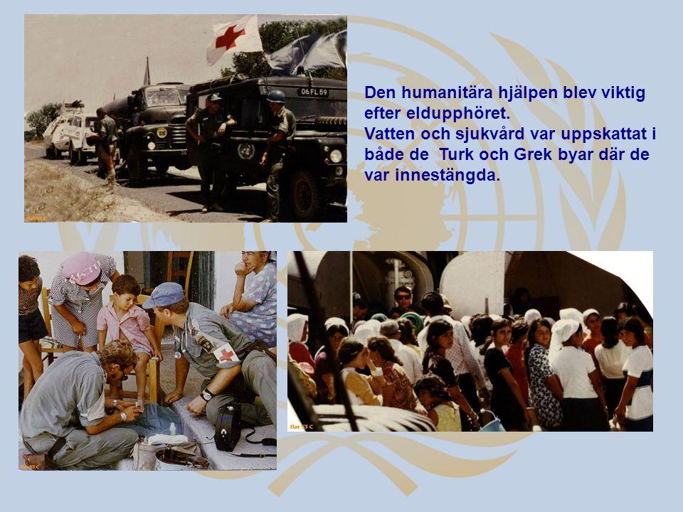 Den humanitära hjälpen blev viktig efter eldupphöret.
