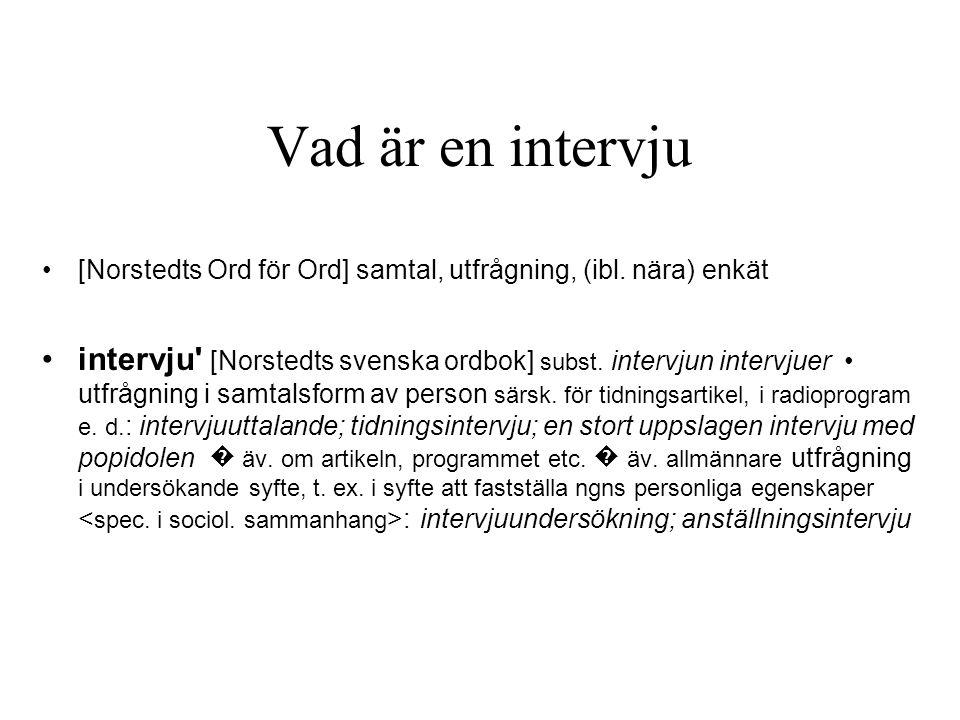 Vad är en intervju [Norstedts Ord för Ord] samtal, utfrågning, (ibl.