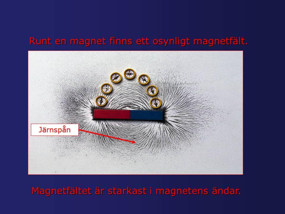 Runt en magnet finns ett osynligt magnetfält. Järnspån Magnetfältet är starkast i magnetens ändar.