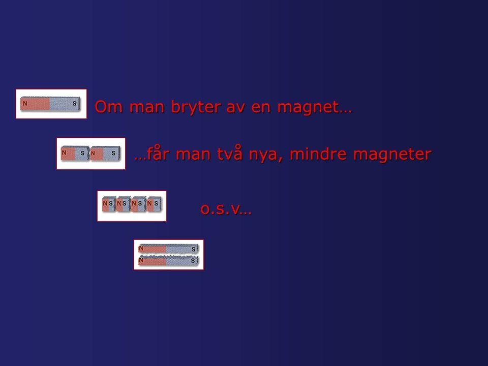 Om man bryter av en magnet… …får man två nya, mindre magneter o.s.v…