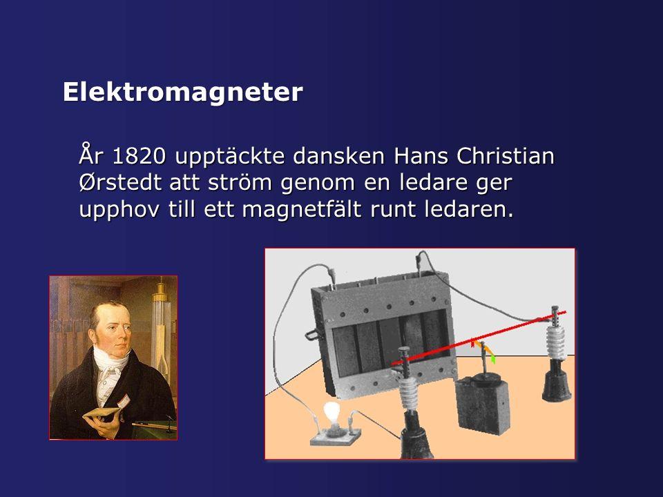 Elektromagneter År 1820 upptäckte dansken Hans Christian Ørstedt att ström genom en ledare ger upphov till ett magnetfält runt ledaren.