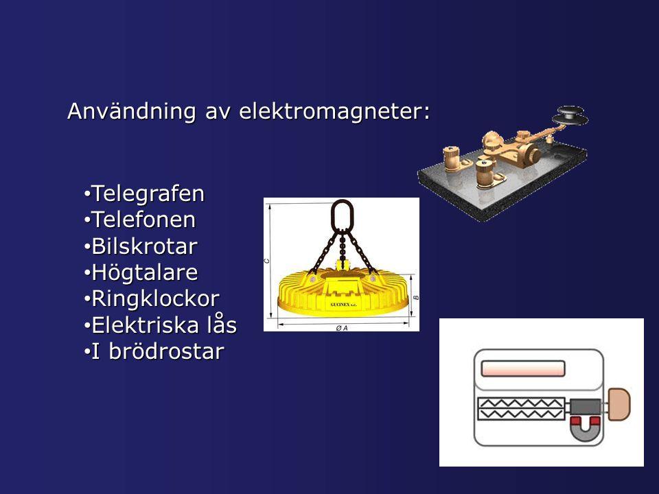 Användning av elektromagneter: Telegrafen Telegrafen Telefonen Telefonen Bilskrotar Bilskrotar Högtalare Högtalare Ringklockor Ringklockor Elektriska Elektriska lås Ibrödrostar