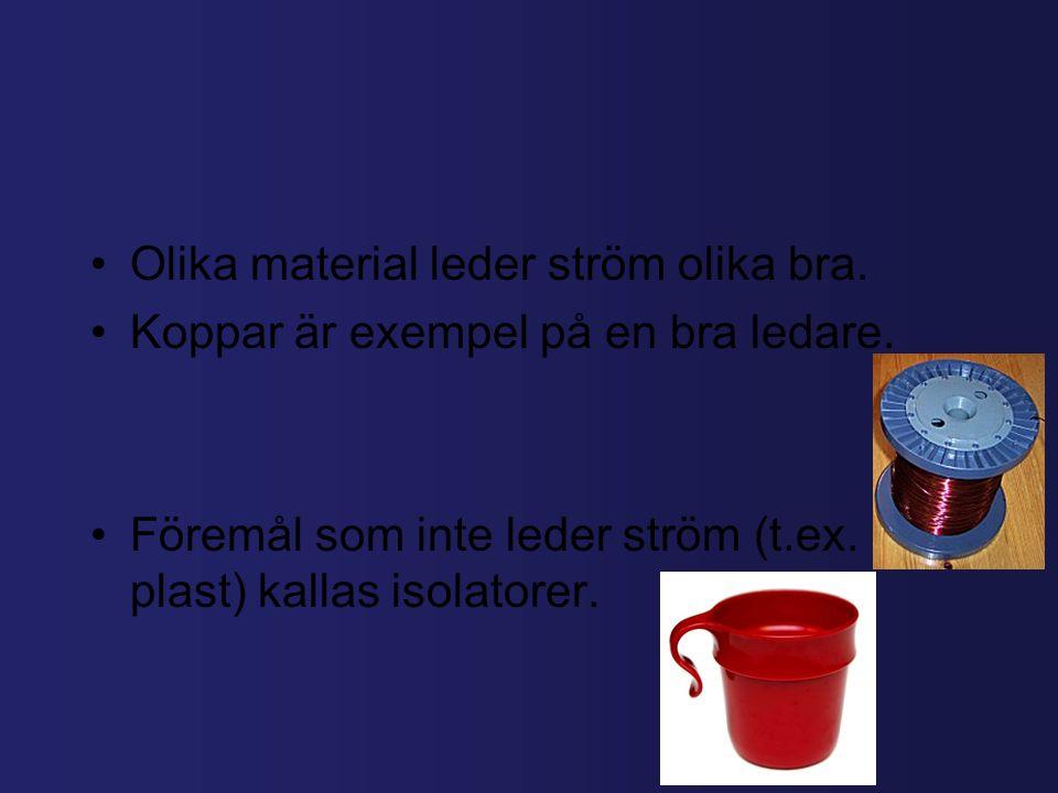Olika material leder ström olika bra.Koppar är exempel på en bra ledare.