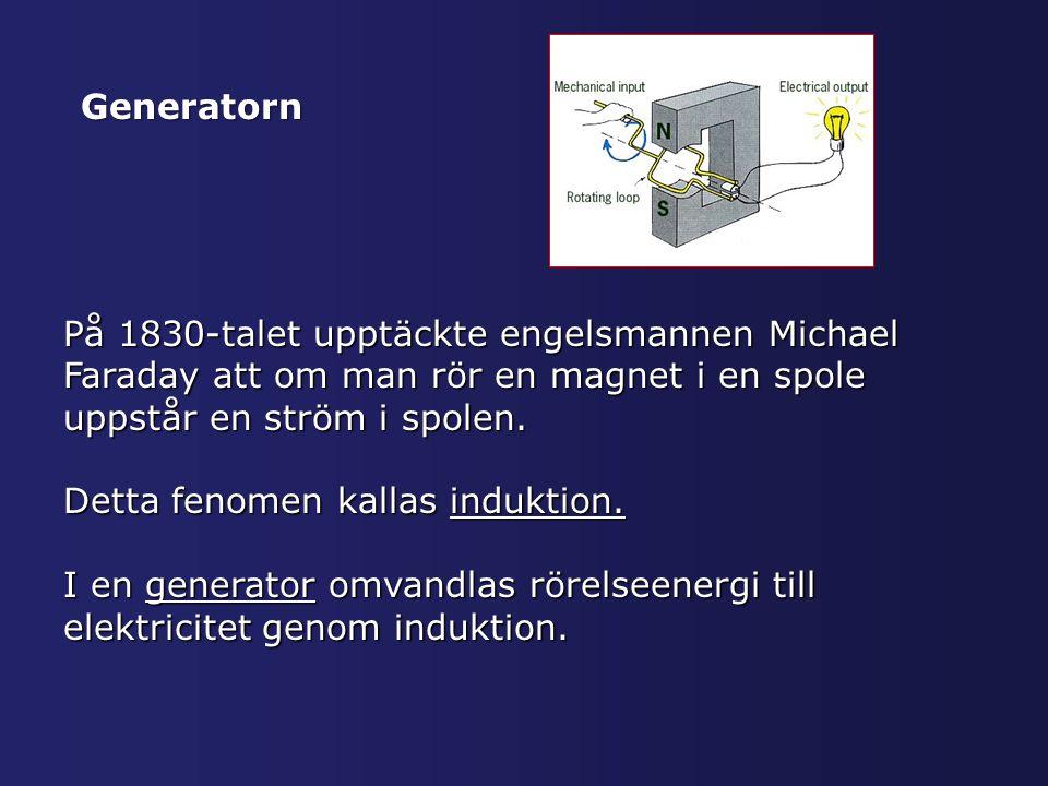Generatorn På 1830-talet upptäckte engelsmannen Michael Faraday att om man rör en magnet i en spole uppstår en ström i spolen.