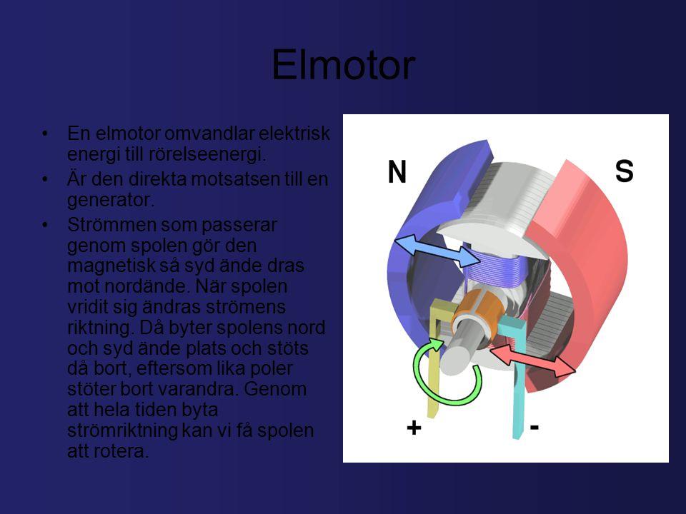 Elmotor En elmotor omvandlar elektrisk energi till rörelseenergi.