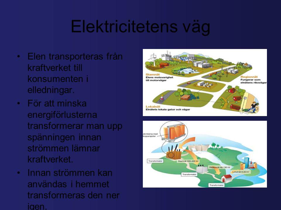 Elektricitetens väg Elen transporteras från kraftverket till konsumenten i elledningar.