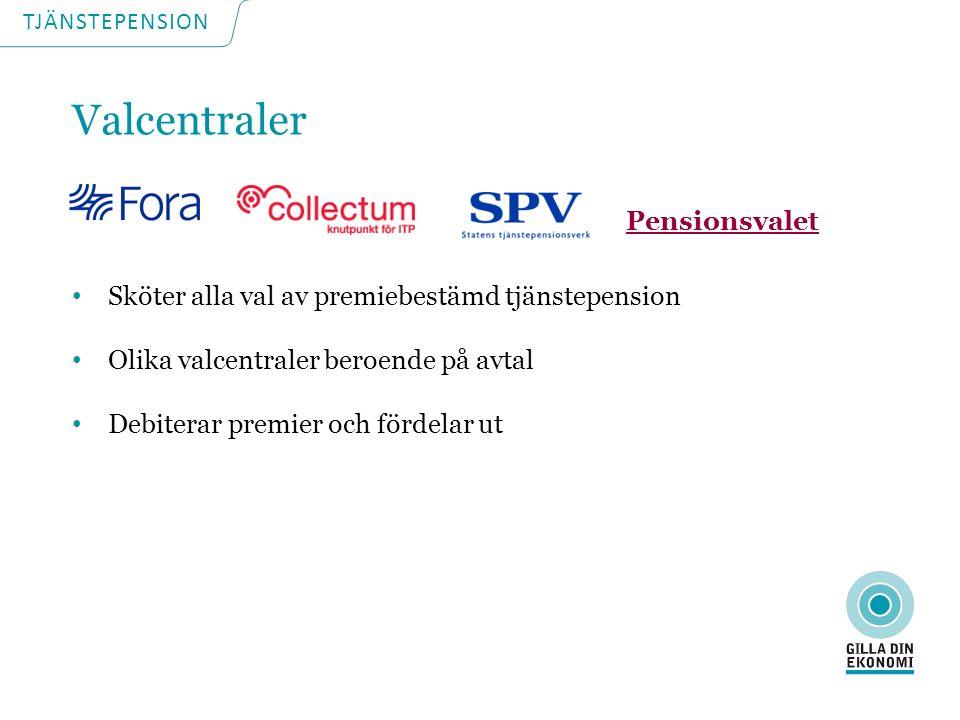TJÄNSTEPENSION ITPK Premiebestämd 2% av lönen Valcentralen är Collectum