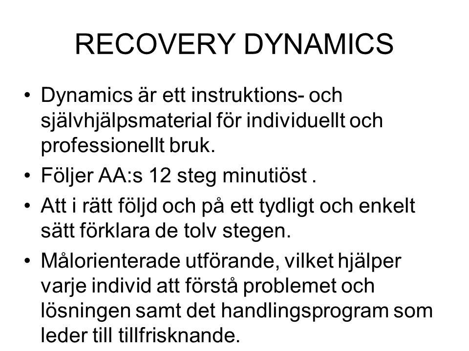 RECOVERY DYNAMICS Dynamics är ett instruktions- och självhjälpsmaterial för individuellt och professionellt bruk.