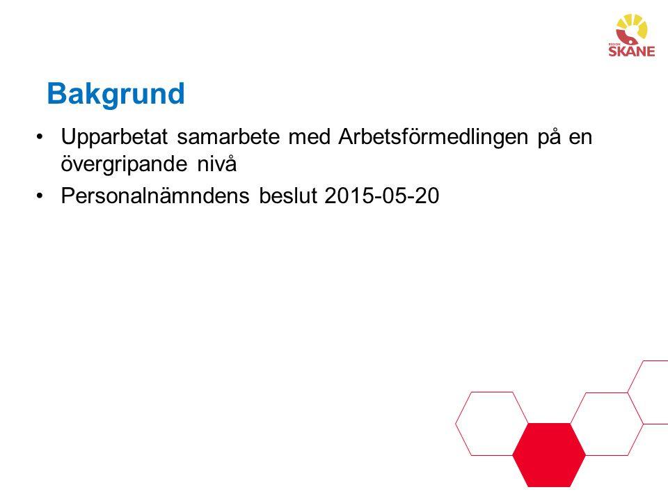 Bakgrund Upparbetat samarbete med Arbetsförmedlingen på en övergripande nivå Personalnämndens beslut 2015-05-20