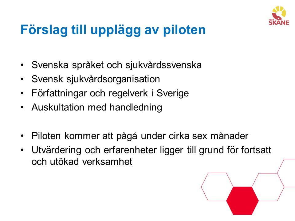 Förslag till upplägg av piloten Svenska språket och sjukvårdssvenska Svensk sjukvårdsorganisation Författningar och regelverk i Sverige Auskultation med handledning Piloten kommer att pågå under cirka sex månader Utvärdering och erfarenheter ligger till grund för fortsatt och utökad verksamhet