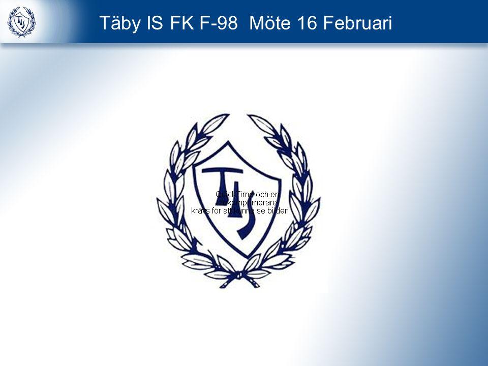 Agenda 1 Lagkassan 2 Status TIS F98 3 Täby IS Flickverksamhet 2012 4 Gothia Cup 2012 5 Organisation F98 2012 6 Allmänna Förhållningsregler 7 Övrigt