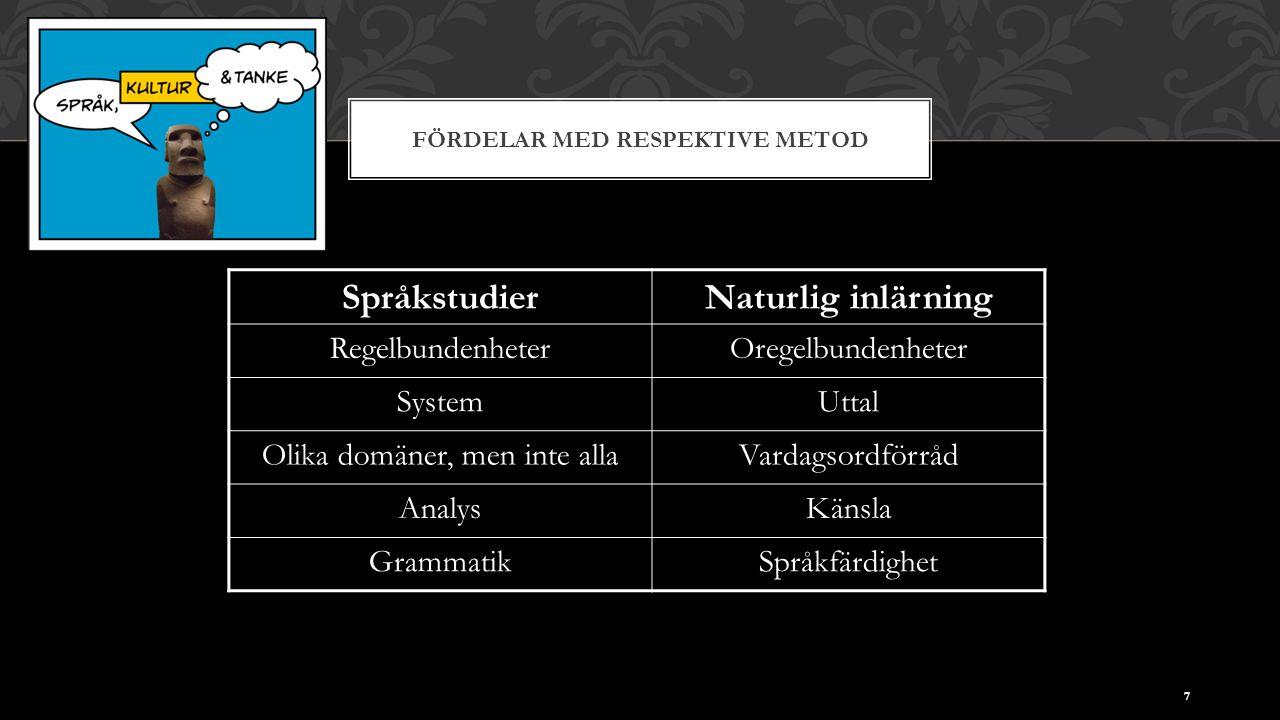 FÖRDELAR MED RESPEKTIVE METOD 7 SpråkstudierNaturlig inlärning RegelbundenheterOregelbundenheter SystemUttal Olika domäner, men inte allaVardagsordförråd AnalysKänsla GrammatikSpråkfärdighet