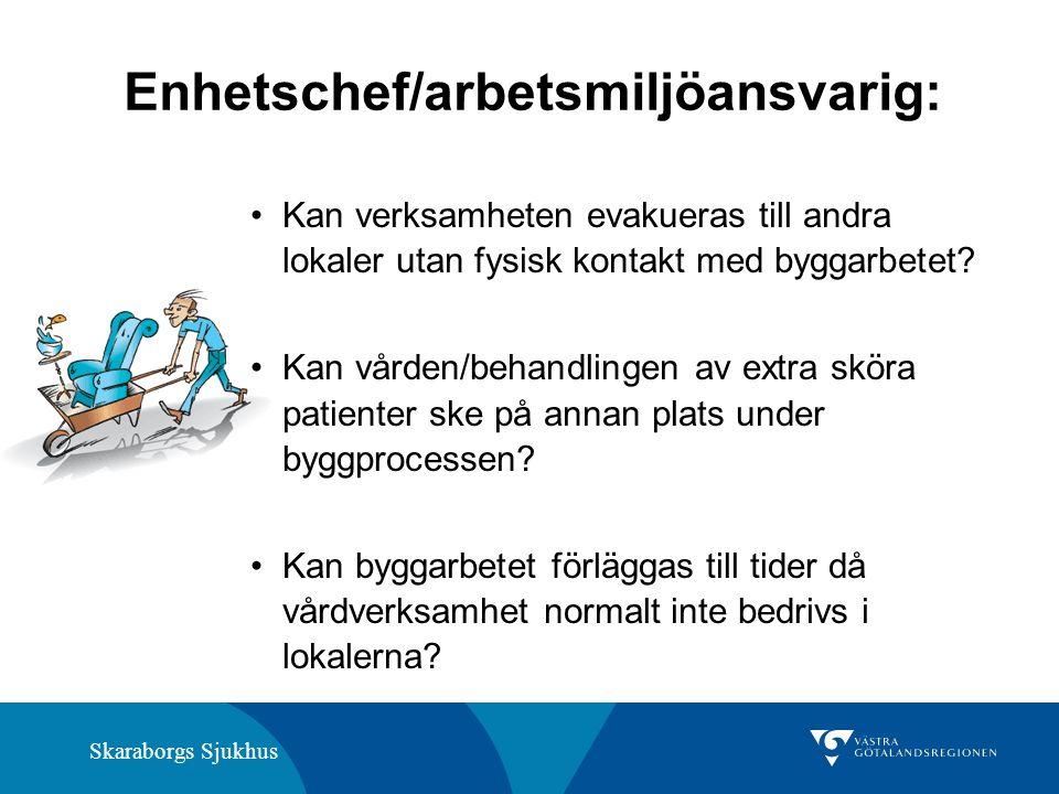 Skaraborgs Sjukhus Enhetschef/arbetsmiljöansvarig: Kan verksamheten evakueras till andra lokaler utan fysisk kontakt med byggarbetet.