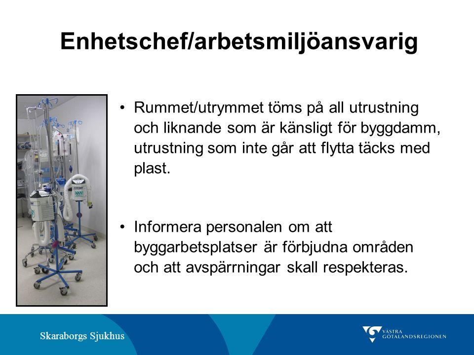Skaraborgs Sjukhus Enhetschef/arbetsmiljöansvarig Rummet/utrymmet töms på all utrustning och liknande som är känsligt för byggdamm, utrustning som inte går att flytta täcks med plast.