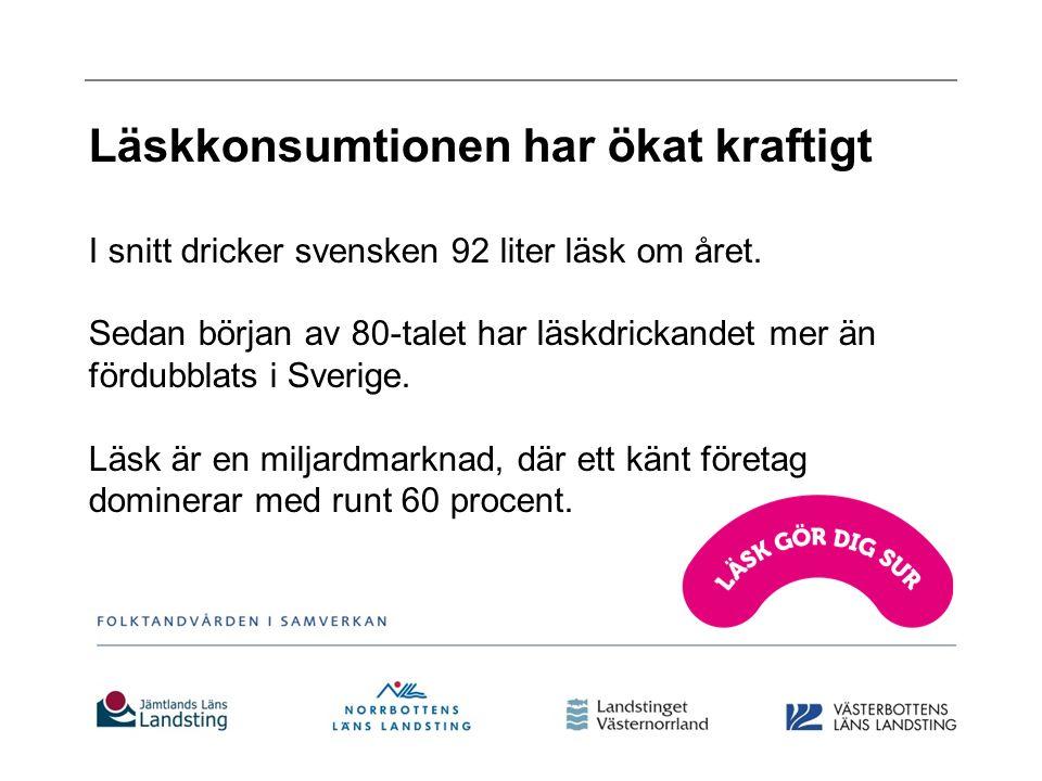 Läskkonsumtionen har ökat kraftigt I snitt dricker svensken 92 liter läsk om året.