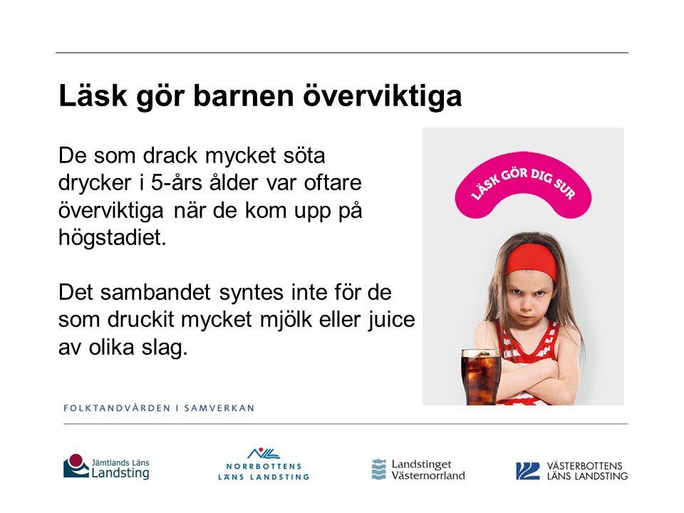Läsk gör barnen överviktiga De som drack mycket söta drycker i 5-års ålder var oftare överviktiga när de kom upp på högstadiet.
