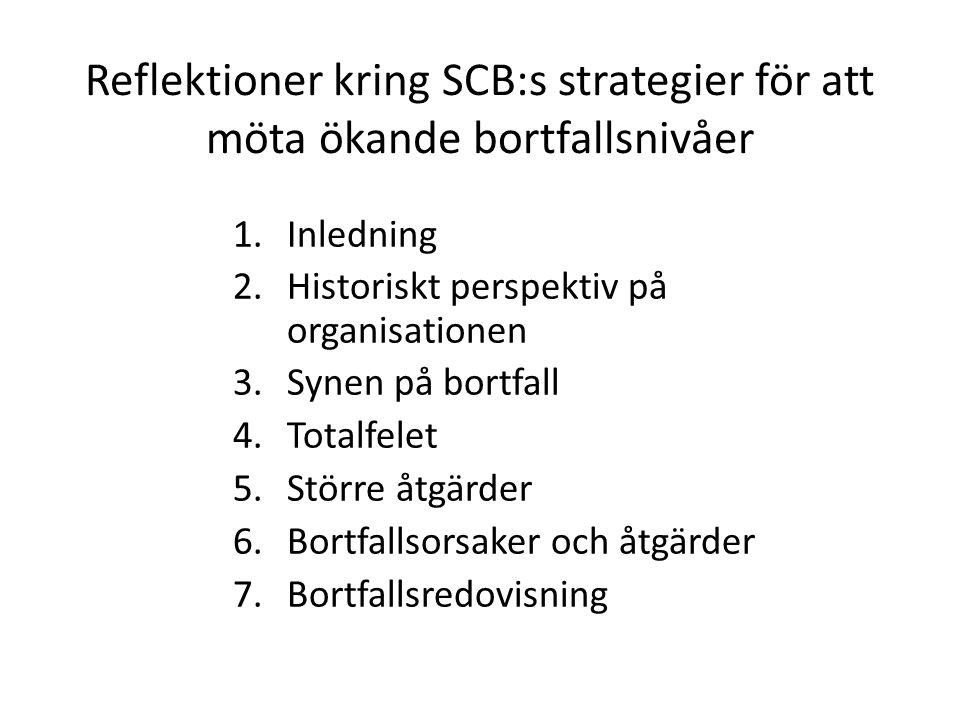 Reflektioner kring SCB:s strategier för att möta ökande bortfallsnivåer 1.Inledning 2.Historiskt perspektiv på organisationen 3.Synen på bortfall 4.Totalfelet 5.Större åtgärder 6.Bortfallsorsaker och åtgärder 7.Bortfallsredovisning