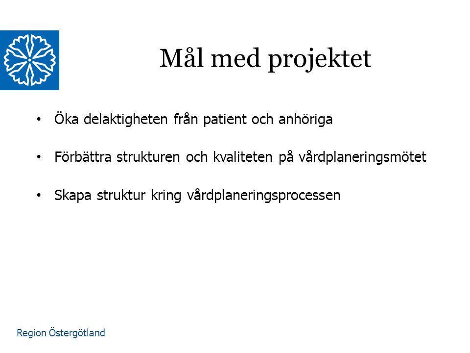 Region Östergötland Öka delaktigheten från patient och anhöriga Förbättra strukturen och kvaliteten på vårdplaneringsmötet Skapa struktur kring vårdplaneringsprocessen Mål med projektet