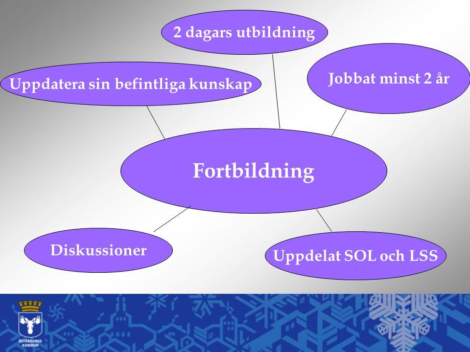 Fortbildning Uppdatera sin befintliga kunskap 2 dagars utbildning Uppdelat SOL och LSS Jobbat minst 2 år Diskussioner