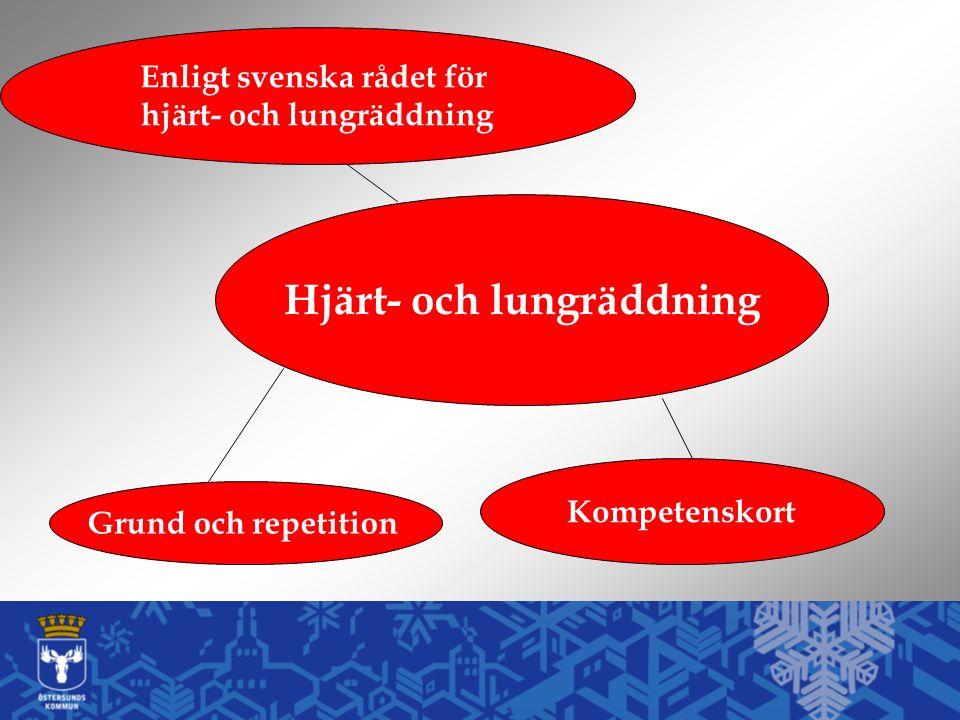 Hjärt- och lungräddning Kompetenskort Enligt svenska rådet för hjärt- och lungräddning Grund och repetition