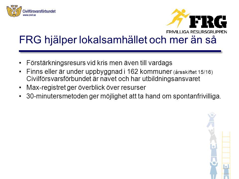 Förstärkningsresurs vid kris men även till vardags Finns eller är under uppbyggnad i 162 kommuner (årsskiftet 15/16) Civilförsvarsförbundet är navet och har utbildningsansvaret Max-registret ger överblick över resurser 30-minutersmetoden ger möjlighet att ta hand om spontanfrivilliga.