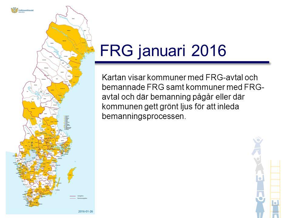 Kartan visar kommuner med FRG-avtal och bemannade FRG samt kommuner med FRG- avtal och där bemanning pågår eller där kommunen gett grönt ljus för att inleda bemanningsprocessen.