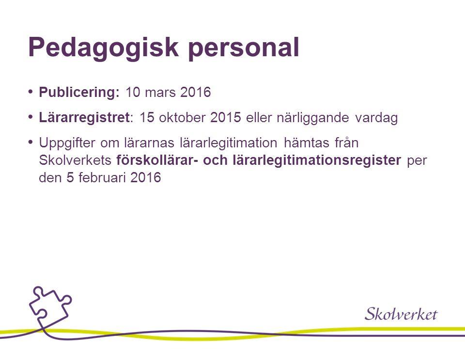 Pedagogisk personal Publicering: 10 mars 2016 Lärarregistret: 15 oktober 2015 eller närliggande vardag Uppgifter om lärarnas lärarlegitimation hämtas