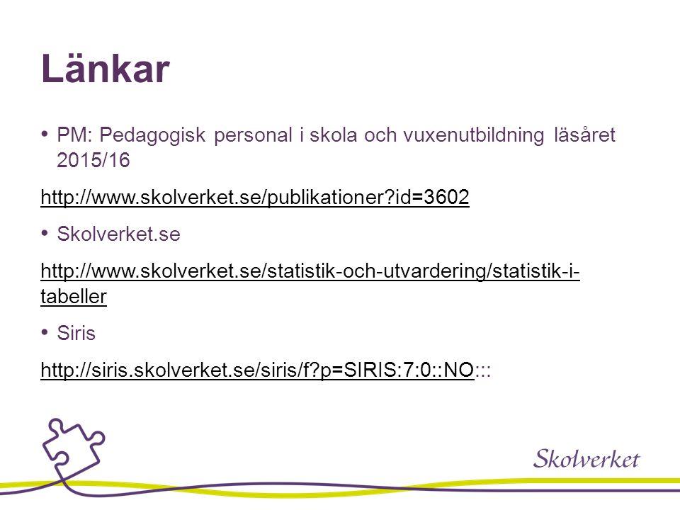Länkar PM: Pedagogisk personal i skola och vuxenutbildning läsåret 2015/16 http://www.skolverket.se/publikationer?id=3602 Skolverket.se http://www.sko