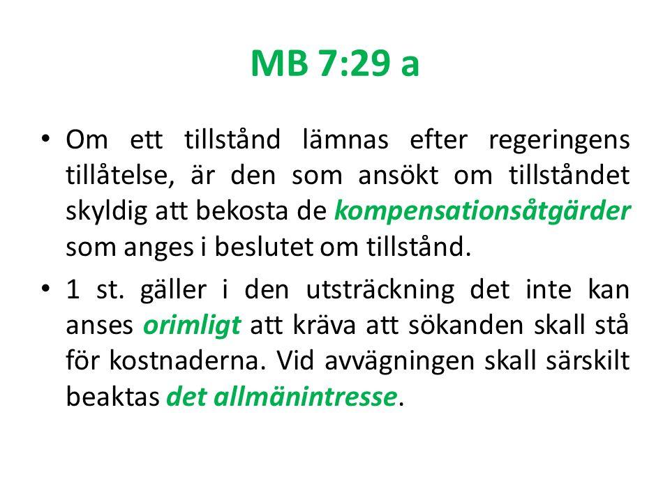 MB 7:29 a Om ett tillstånd lämnas efter regeringens tillåtelse, är den som ansökt om tillståndet skyldig att bekosta de kompensationsåtgärder som anges i beslutet om tillstånd.