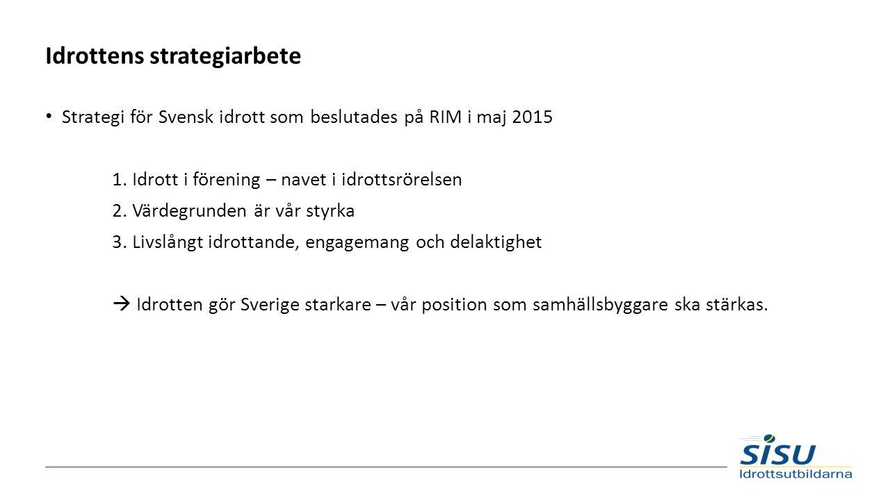 Idrottens strategiarbete Strategi för Svensk idrott som beslutades på RIM i maj 2015 1. Idrott i förening – navet i idrottsrörelsen 2. Värdegrunden är