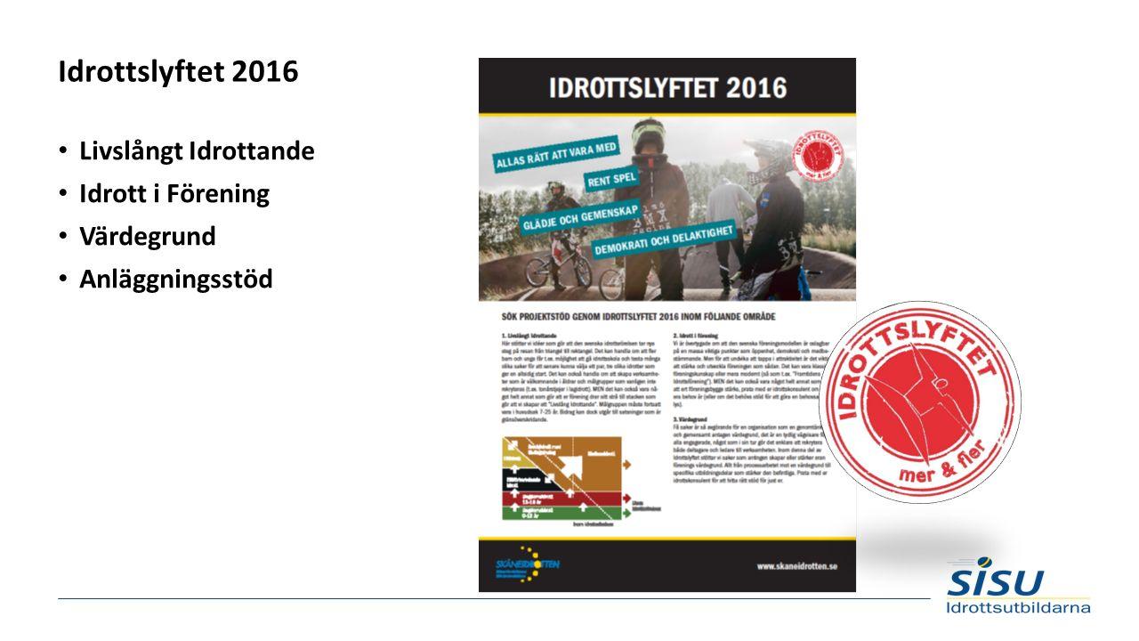 Idrottslyftet 2016 Livslångt Idrottande Idrott i Förening Värdegrund Anläggningsstöd