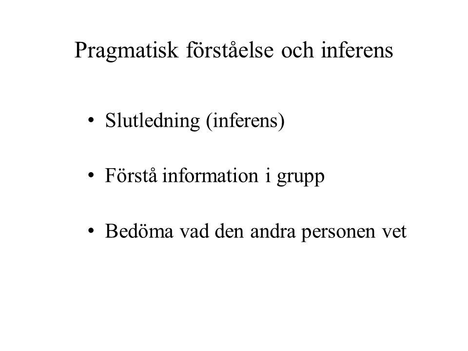 Pragmatisk förståelse och inferens Slutledning (inferens) Förstå information i grupp Bedöma vad den andra personen vet