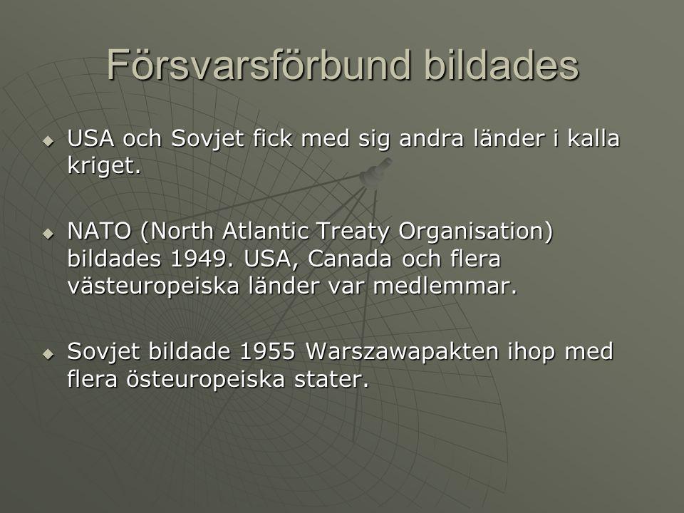 Försvarsförbund bildades  USA och Sovjet fick med sig andra länder i kalla kriget.