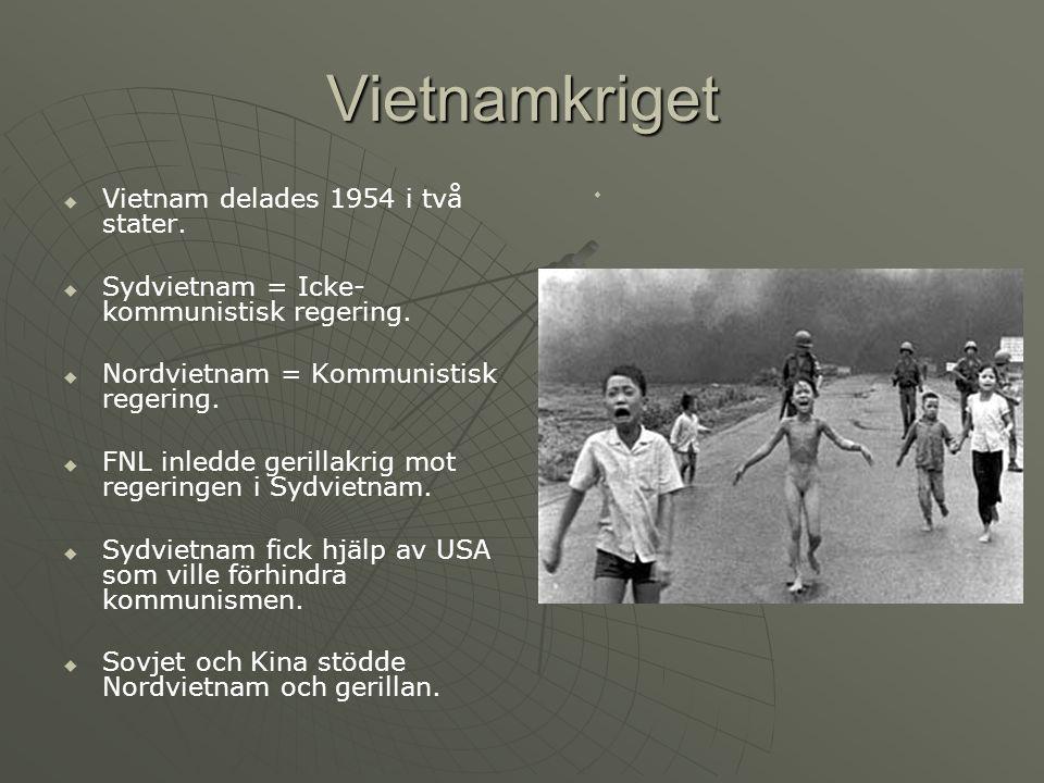 Vietnamkriget VVietnam delades 1954 i två stater.