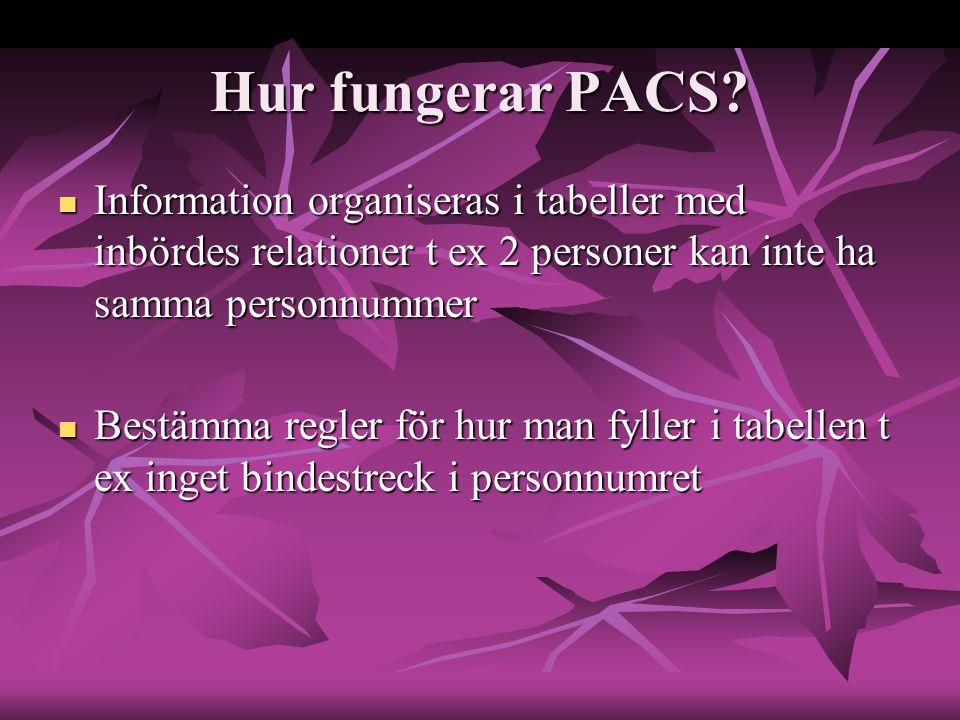 Hur fungerar PACS? Information organiseras i tabeller med inbördes relationer t ex 2 personer kan inte ha samma personnummer Information organiseras i