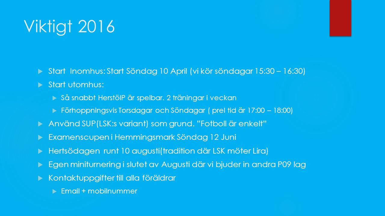Viktigt 2016  Start Inomhus: Start Söndag 10 April (vi kör söndagar 15:30 – 16:30)  Start utomhus:  Så snabbt HerstöIP är spelbar.