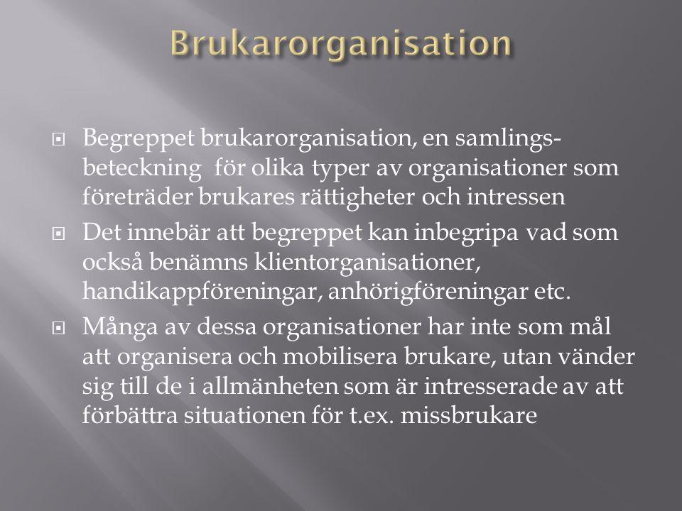  Begreppet brukarorganisation, en samlings- beteckning för olika typer av organisationer som företräder brukares rättigheter och intressen  Det innebär att begreppet kan inbegripa vad som också benämns klientorganisationer, handikappföreningar, anhörigföreningar etc.