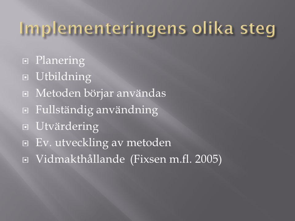  Planering  Utbildning  Metoden börjar användas  Fullständig användning  Utvärdering  Ev.