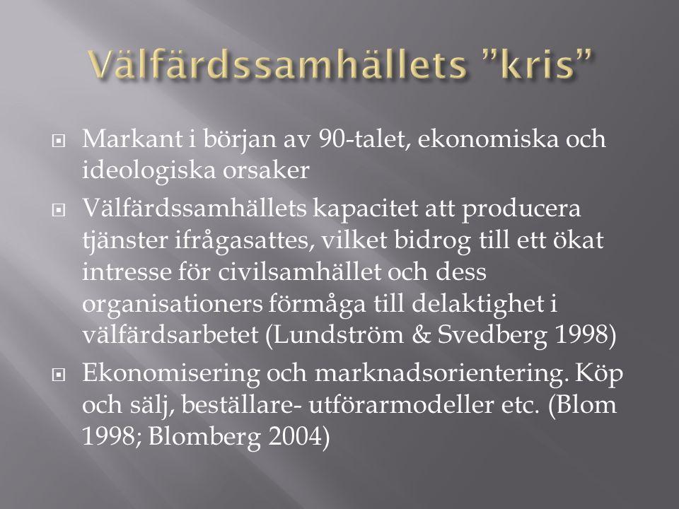  Markant i början av 90-talet, ekonomiska och ideologiska orsaker  Välfärdssamhällets kapacitet att producera tjänster ifrågasattes, vilket bidrog till ett ökat intresse för civilsamhället och dess organisationers förmåga till delaktighet i välfärdsarbetet (Lundström & Svedberg 1998)  Ekonomisering och marknadsorientering.