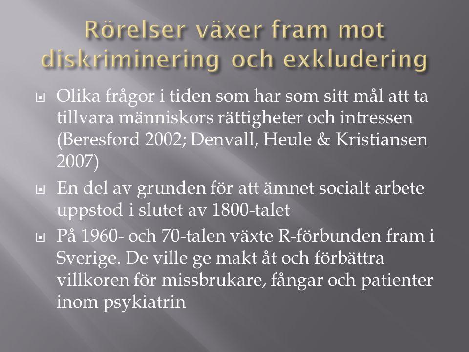  Olika frågor i tiden som har som sitt mål att ta tillvara människors rättigheter och intressen (Beresford 2002; Denvall, Heule & Kristiansen 2007)  En del av grunden för att ämnet socialt arbete uppstod i slutet av 1800-talet  På 1960- och 70-talen växte R-förbunden fram i Sverige.