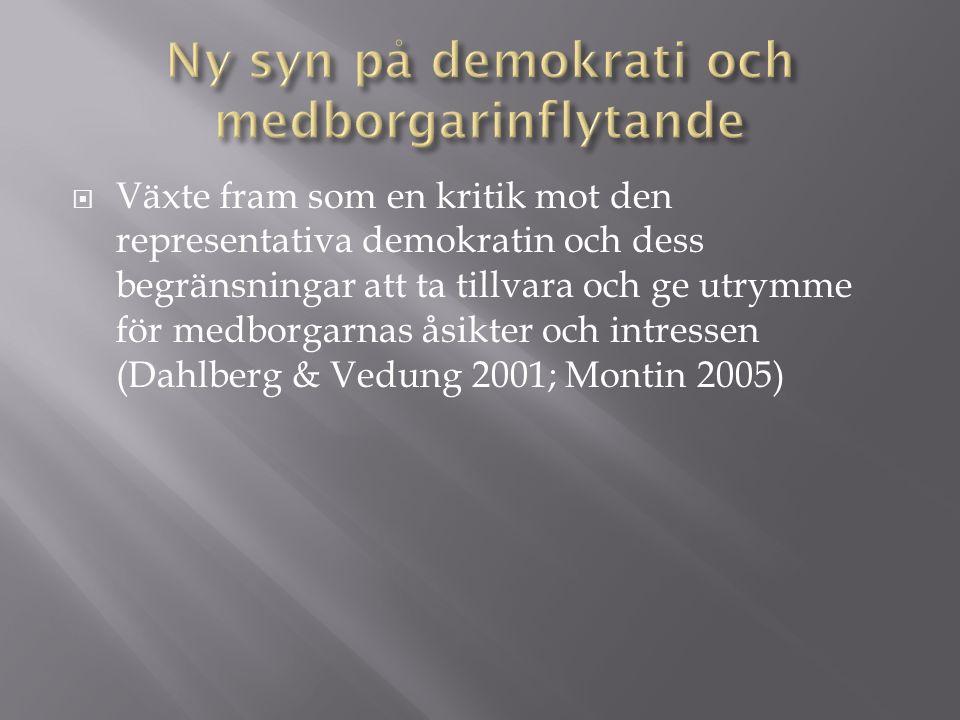  Växte fram som en kritik mot den representativa demokratin och dess begränsningar att ta tillvara och ge utrymme för medborgarnas åsikter och intressen (Dahlberg & Vedung 2001; Montin 2005)