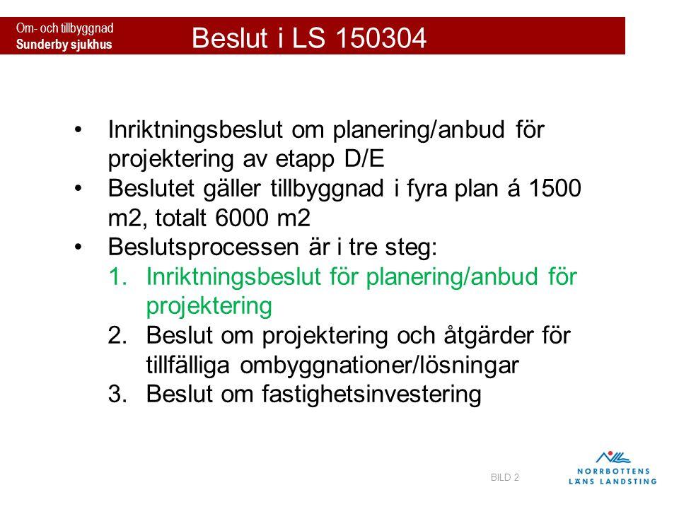 Om- och tillbyggnad Sunderby sjukhus Beslut i LS 150304 BILD 2 Inriktningsbeslut om planering/anbud för projektering av etapp D/E Beslutet gäller till