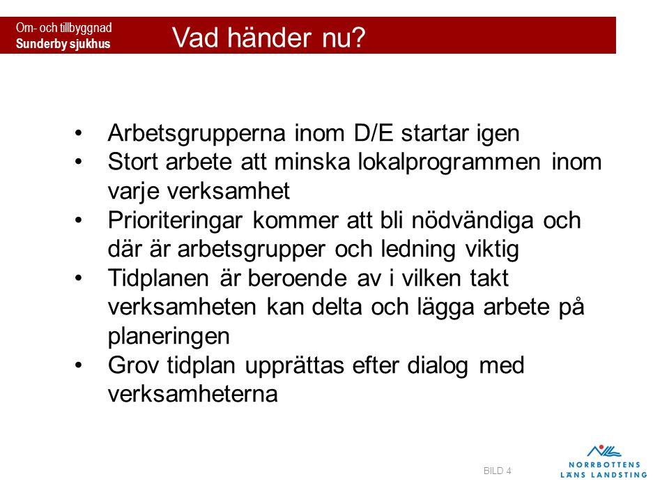 Om- och tillbyggnad Sunderby sjukhus Vad händer nu? BILD 4 Arbetsgrupperna inom D/E startar igen Stort arbete att minska lokalprogrammen inom varje ve