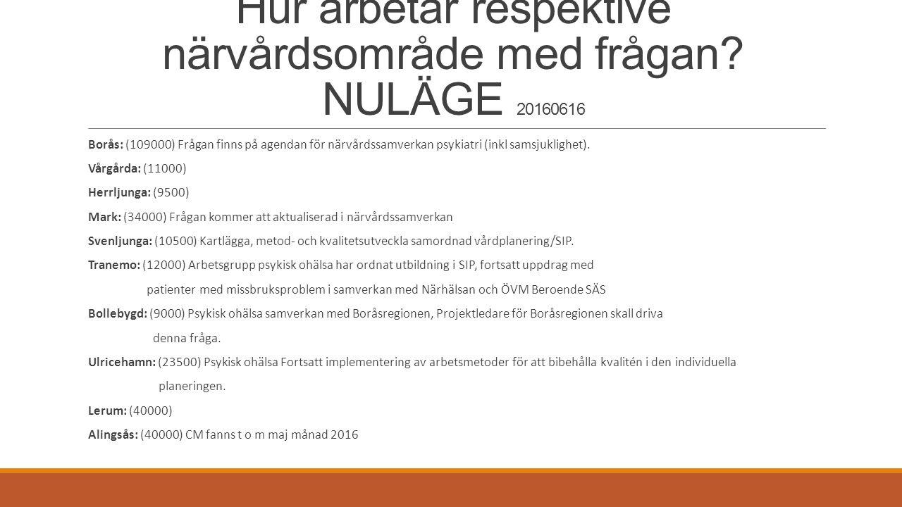 Hur arbetar respektive närvårdsområde med frågan? NULÄGE 20160616 Borås: (109000) Frågan finns på agendan för närvårdssamverkan psykiatri (inkl samsju