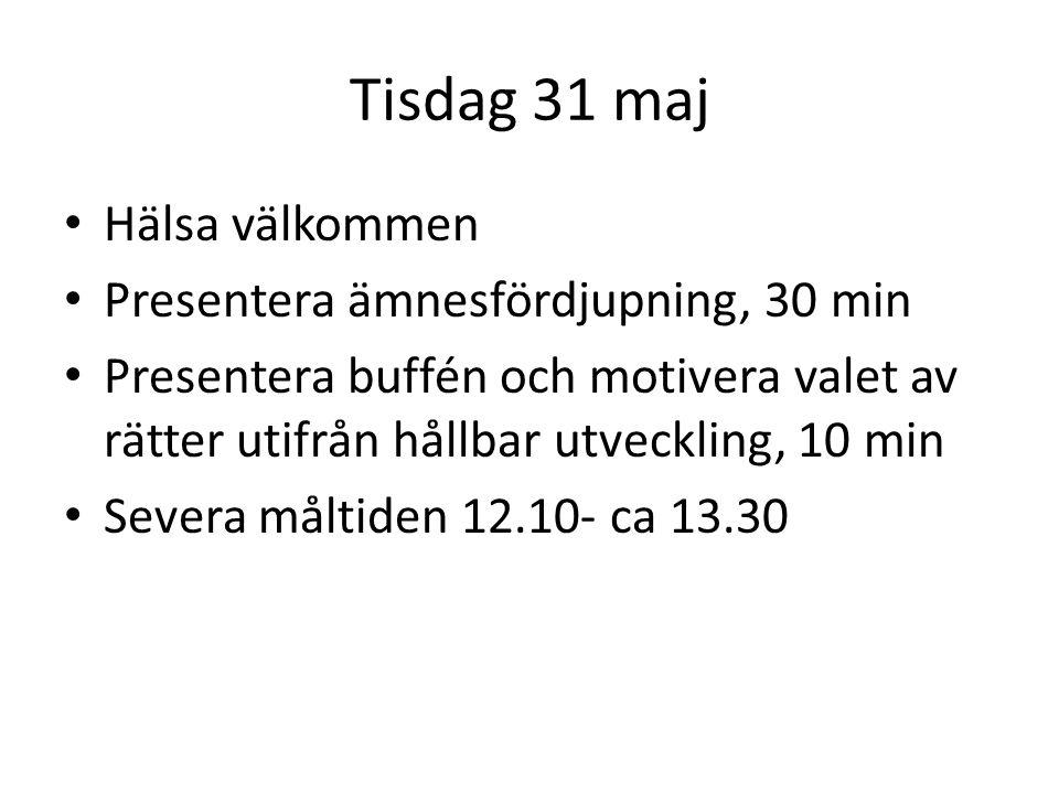 Tisdag 31 maj Hälsa välkommen Presentera ämnesfördjupning, 30 min Presentera buffén och motivera valet av rätter utifrån hållbar utveckling, 10 min Severa måltiden 12.10- ca 13.30