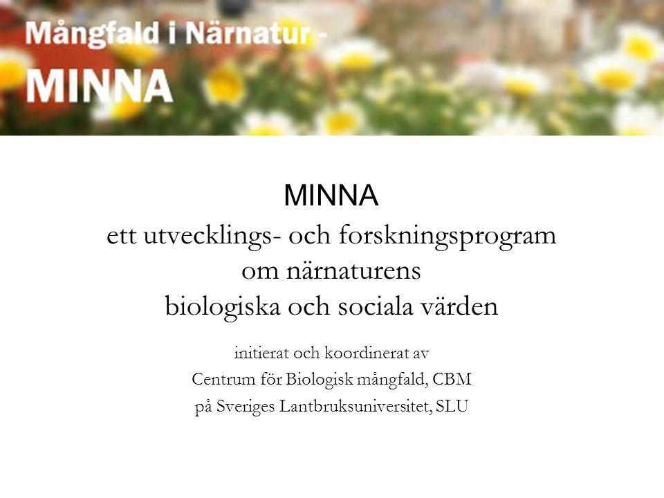 MINNA ett utvecklings- och forskningsprogram om närnaturens biologiska och sociala värden initierat och koordinerat av Centrum för Biologisk mångfald, CBM på Sveriges Lantbruksuniversitet, SLU